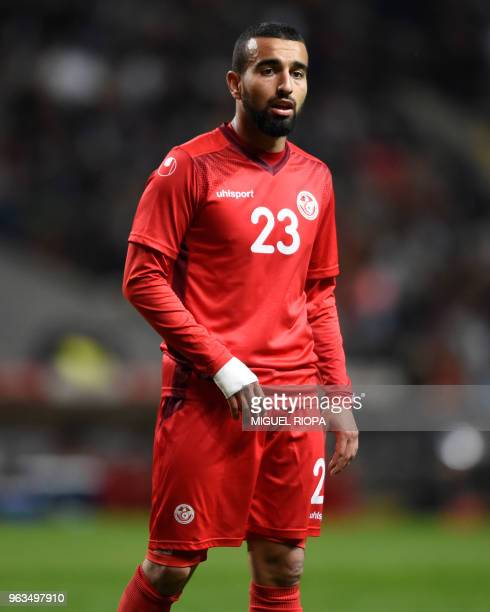Tunisia's forward Naim Sliti looks on during the international friendly football match between Portugal and Tunisia at the Municipal stadium in Braga...