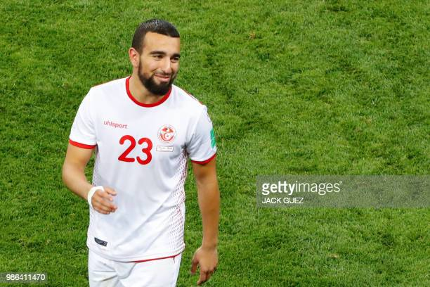 Tunisia's forward Naim Sliti smiles at the end of the Russia 2018 World Cup Group G football match between Panama and Tunisia at the Mordovia Arena...