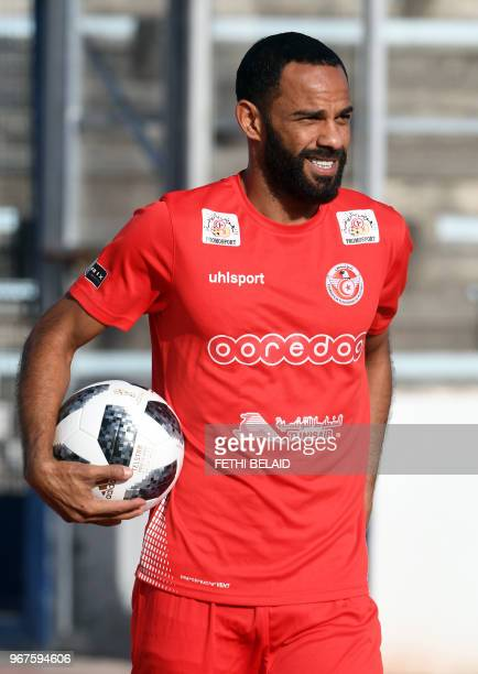 Tunisia's forward Saber Khalifa takes part in a training session at the Olympic stadium El Menzah in the Tunisian capital on June 4 as part of the...