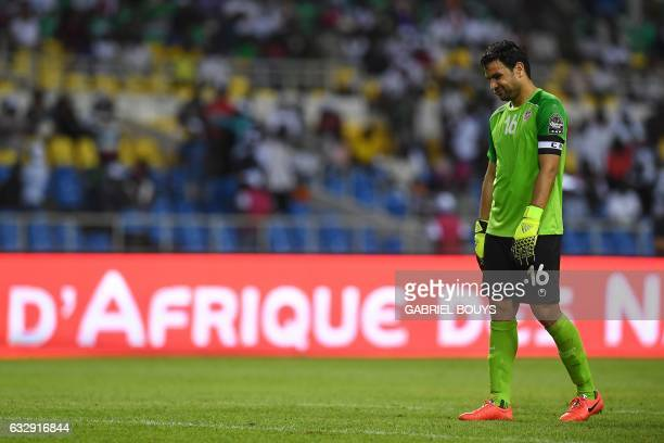 Tunisia's goalkeeper Aymen Mathlouthi reacts after conceding a second goal during the 2017 Africa Cup of Nations quarterfinal football match between...