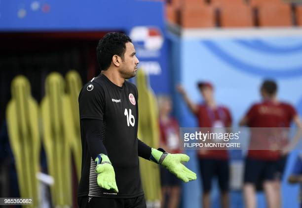 Tunisia's goalkeeper Aymen Mathlouthi takes part in a training session at the Mordovia Arena in Saransk on June 27 on the eve of team's third match...