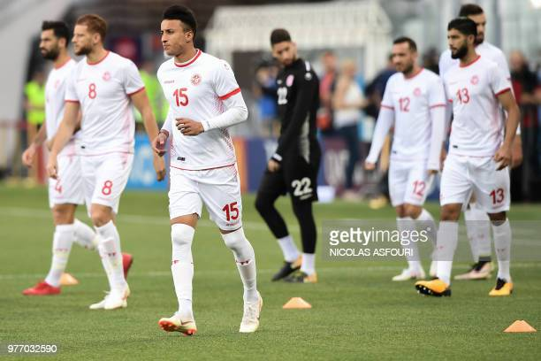 Tunisia's midfielder Ahmed Khalil and teammates attend a training session at the Volgograd Arena in Volgograd on June 17 on the eve of the Russia...