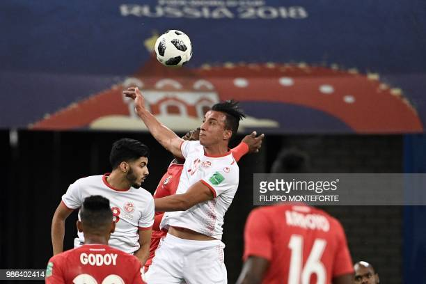 Tunisia's midfielder Ahmed Khalil heads the ball during the Russia 2018 World Cup Group G football match between Panama and Tunisia at the Mordovia...