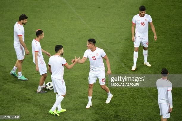 Tunisia's midfielder Ahmed Khalil takes part in a warm up prior the Russia 2018 World Cup Group G football match between Tunisia and England at the...