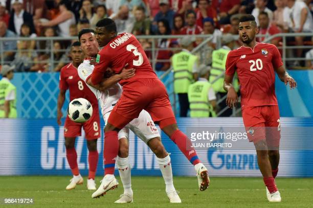 Tunisia's midfielder Ahmed Khalil vies with Panama's defender Harold Cummings during the Russia 2018 World Cup Group G football match between Panama...
