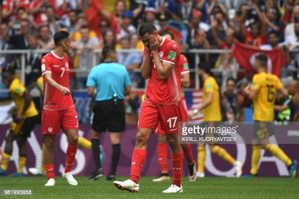 Tunisia's midfielder Ellyes Skhiri reacts to Belgium's fifth goal during the Russia 2018 World Cup Group G football match between Belgium and Tunisia...