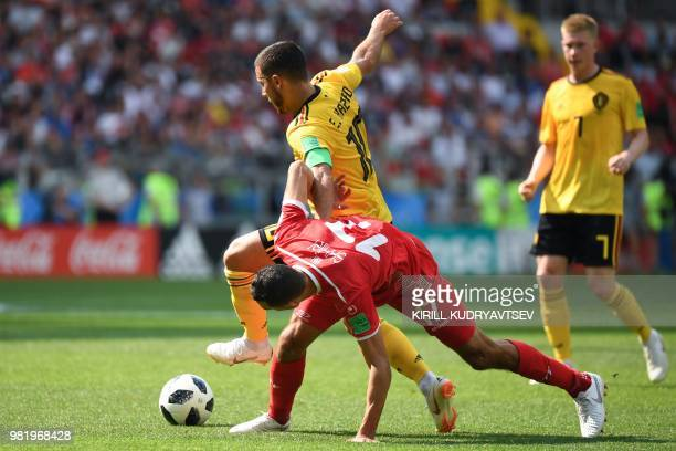 Tunisia's midfielder Ellyes Skhiri vies with Belgium's forward Eden Hazard during the Russia 2018 World Cup Group G football match between Belgium...