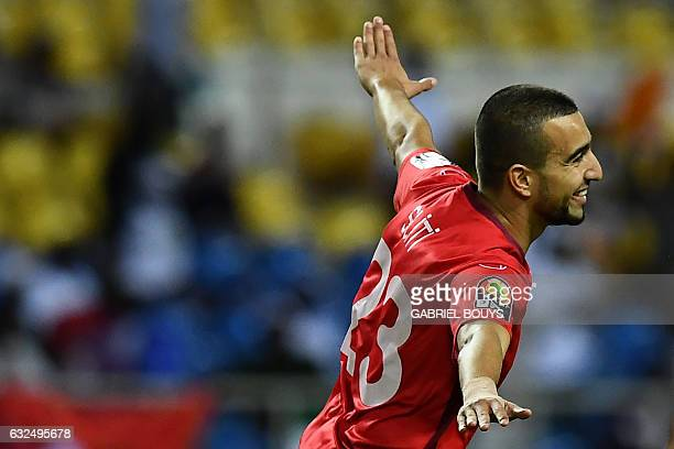 Tunisia's midfielder Naim Sliti celebrates after scoring a goal during the 2017 Africa Cup of Nations group A football match between Zimbabwe and...