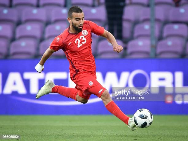 Tunisia's midfielder Naim Sliti controls the ball during a football match between Tunisia and Turkey at the Stade de Geneve stadium in Geneva on June...