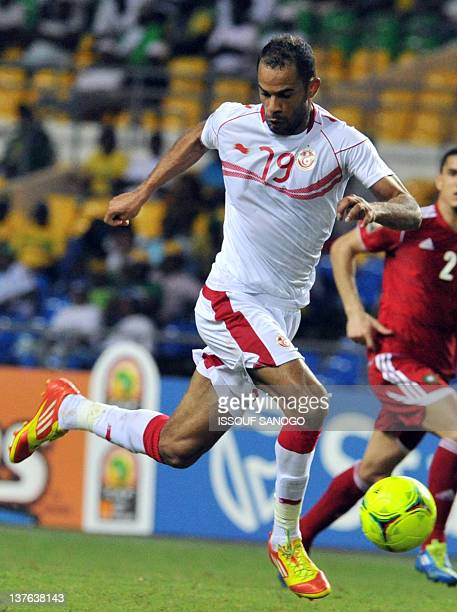 Tunisia's national football team striker Saber Khelifa controls the ball during the African Cup of Nations Group C football match against Morocco at...