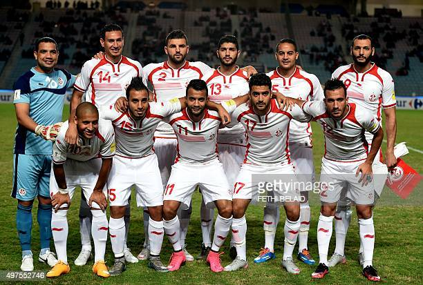 Tunisia's national team pose for a photo prior to the FIFA World Cup 2018 qualifying football match between Tunisia and Mauritania at Rades Olympic...