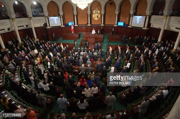 Tunisia's new President Kais Saied addresses the parliament during a ceremony for taking the oath of office in Tunis on October 23, 2019. - Saied, a...