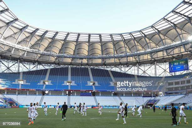 Tunisia's players attend a training session at the Volgograd Arena in Volgograd on June 17 on the eve of the Russia 2018 World Cup Group G football...