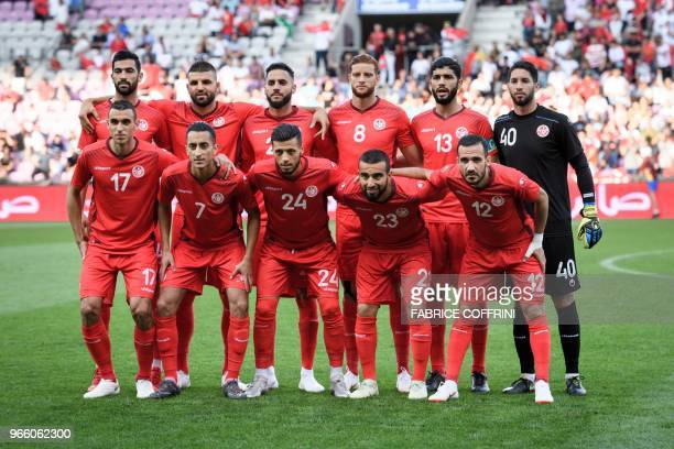Tunisia's players defender Yassine Meriah defender Syam Ben Youssef defender Dylan Bronn forward Fakhreddine Ben Youssef midfielder Ferjani Sassi and...