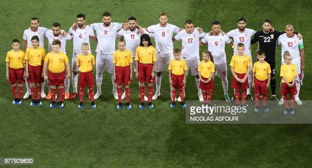 Tunisia's players pose before the Russia 2018 World Cup Group G football match between Tunisia and England at the Volgograd Arena in Volgograd on...
