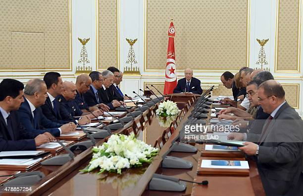 Tunisia's President Beji Caid Essebsi chairs the National Security Council meeting at Carthage Palace in the capital Tunis on June 28 2015 following...