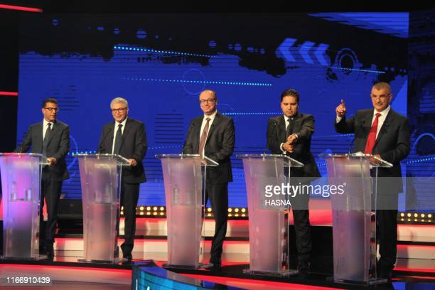 Tunisia's presidential candidates attend the second round of the presidential debate on September 8 2019 in Tunis Days before the first round of...