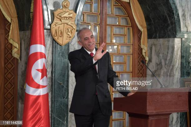 Tunisia's Prime Ministerdesignate Habib Jemli briefs the media about his proposed government list during a press conference at the presidential...