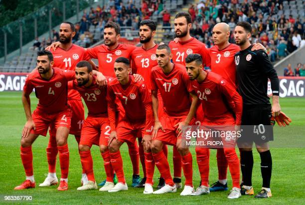 Tunisia's squad forward Saber Khalifa defender Oussama Haddadi midfielder Ferjani Sassi defender Hamdi Nagguez defender Yohan Benalouane goalkeeper...