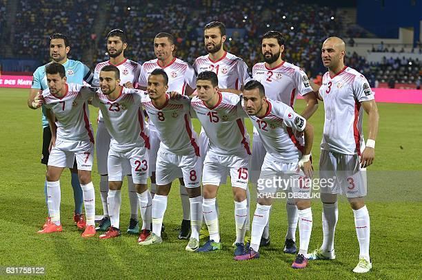 Tunisia's squad goalkeeper Aymen Mathlouthi midfielder Ferjani Sassi forward Ahmed Akaichi defender Hamdi Nagguez defender Syam Ben Youssef defender...