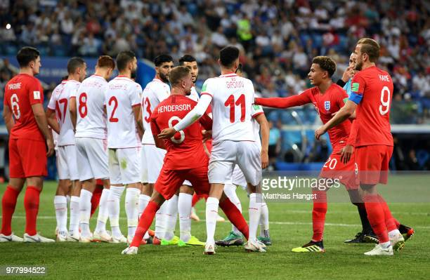 Tunisia's wall gets ready for the free kick during the 2018 FIFA World Cup Russia group G match between Tunisia and England at Volgograd Arena on...
