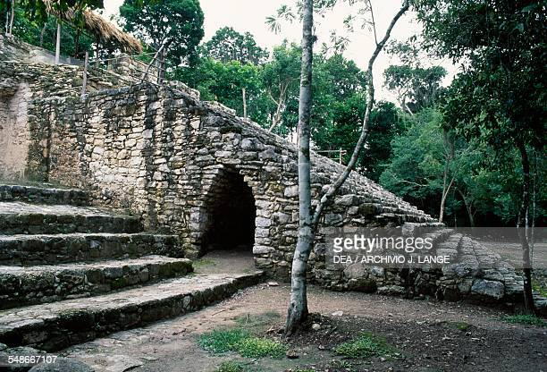 Tunnel at the base of the pyramid known as La Iglesia Coba Group or Group B Coba Quintana Roo Mexico Mayan civilisation 6th10th century