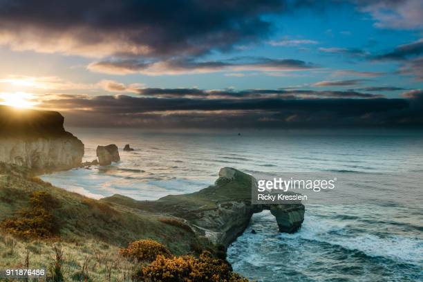 tunnel beach - dunedin new zealand stock pictures, royalty-free photos & images