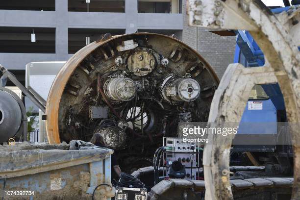 Tunnel boring equipment sits prior to an unveiling event for the Boring Co. Hawthorne test tunnel in Hawthorne, California, U.S., on Tuesday, Dec....