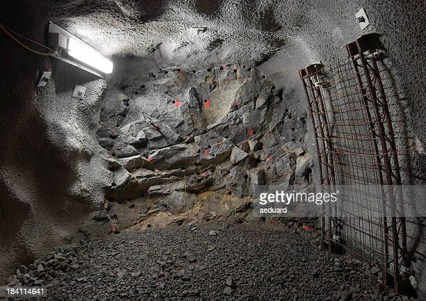 tunnel front - underground mining stock photos and pictures
