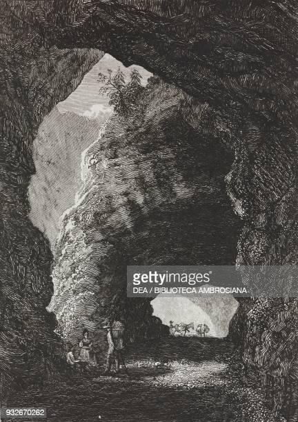 Tunnel in Gondo on the Simplon Pass Switzerland engraving from L'album giornale letterario e di belle arti April 7 Year 5