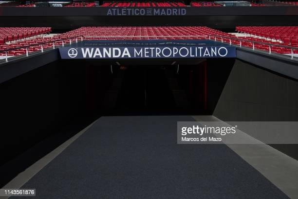 Tunnel in Wanda Metropolitano stadium during an open doors media day ahead of the 2019 UEFA Champions League Final. The final match will be played at...