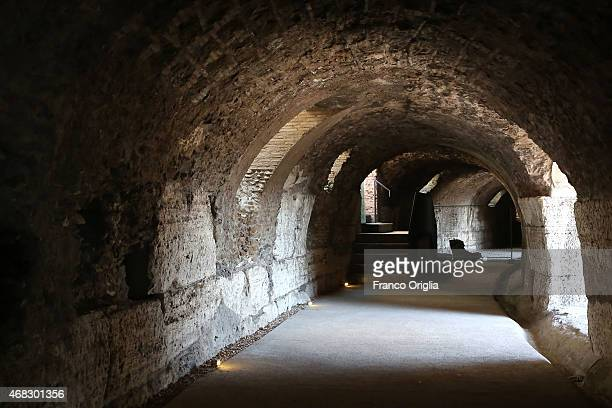A tunnel inside the third ring in the highest level of the Colosseum is seen after restoration works have been completed on March 31 2014 in Rome...