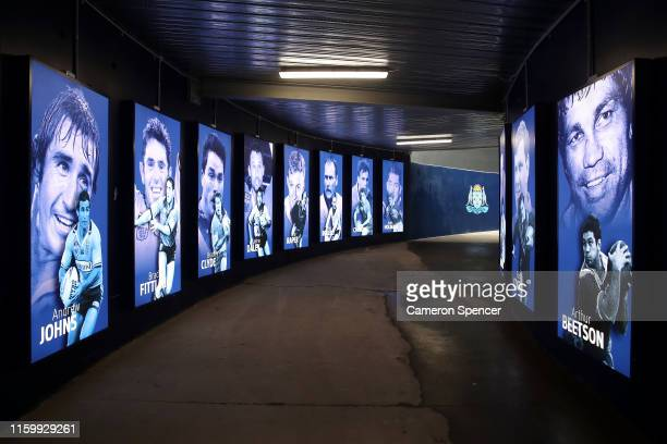Tunnel leading from the NSWRL Centre of Excellence linking to ANZ Stadium is unveiled following a New South Wales Blues State of Origin training...