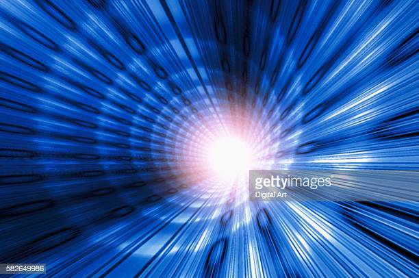 tunnel of blue light - light at the end of the tunnel stock pictures, royalty-free photos & images