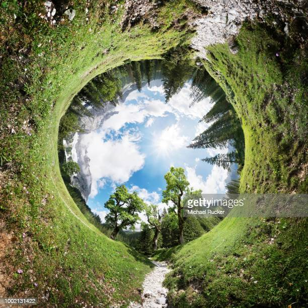 360 tunnel panorama of the kleiner ahornboden wooded area in the karwendel, tyrol, austria - 360 degree view photos et images de collection