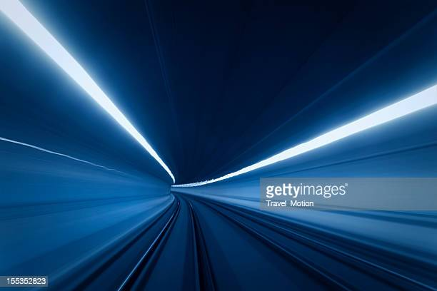 Tunnel speed of blue motion lights