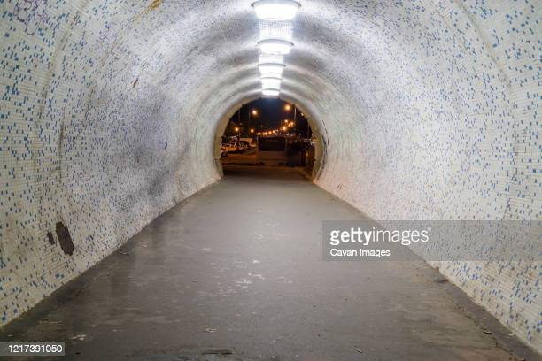 a tunnel under the chain bridge in budapest by the danube - air raid shelter stock pictures, royalty-free photos & images