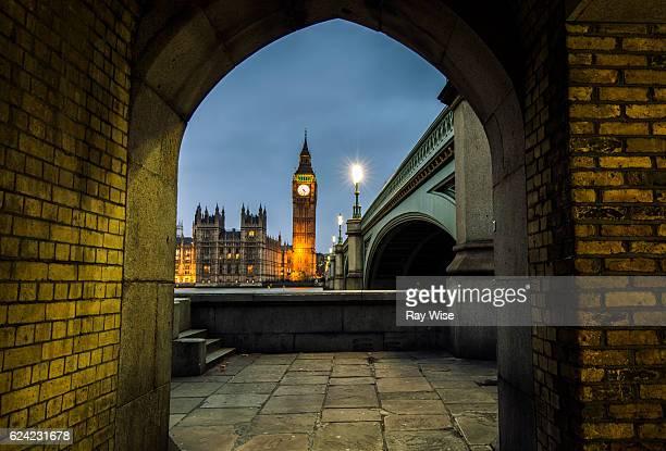 Tunnel underneath Westminster Bridge.