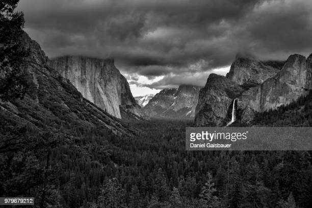Tunnel View in Yosemite National Park in moody weather, California, USA