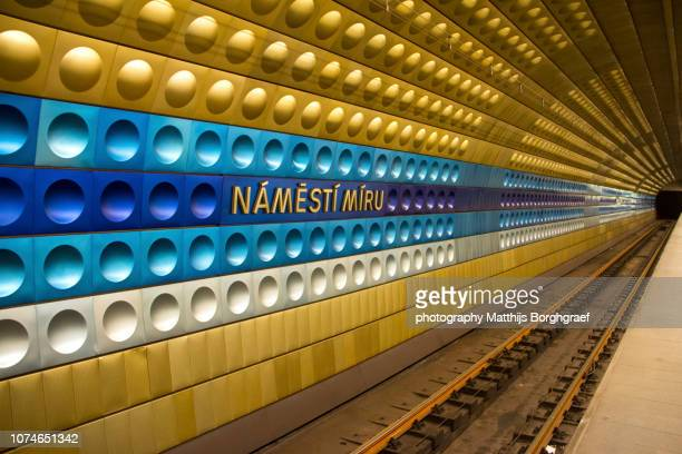 Tunnel view of Namesti Miru underground station in Prague