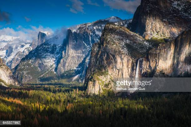 Tunnel View, Yosemite Valley, and Bridalveil Fall After a Winter Storm in Yosemite National Park