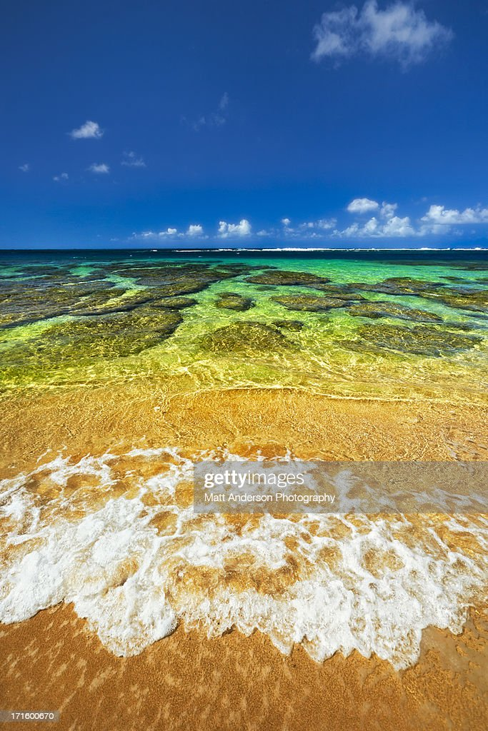 Tunnels Beach North Shore Kauai Hawaii Surf : Stock Photo