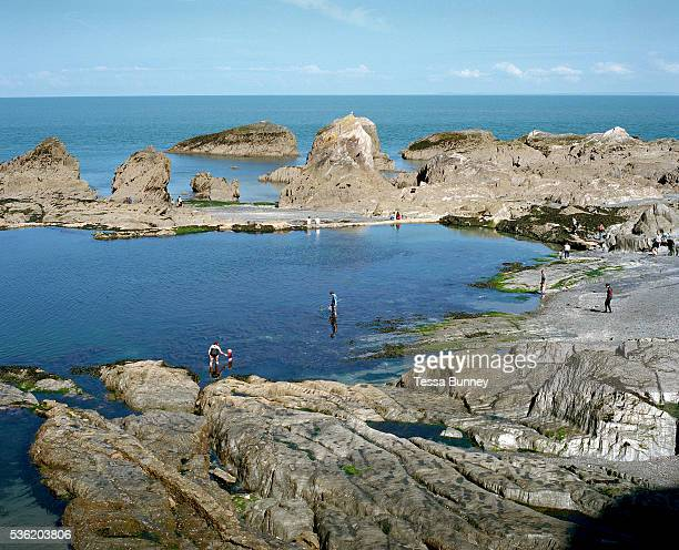 Tunnels Beach Tidal Pool Ilfracombe Devon UK Until the 1950s and the rise of the heated indoor swimming pool children learnt to swim outdoors For...