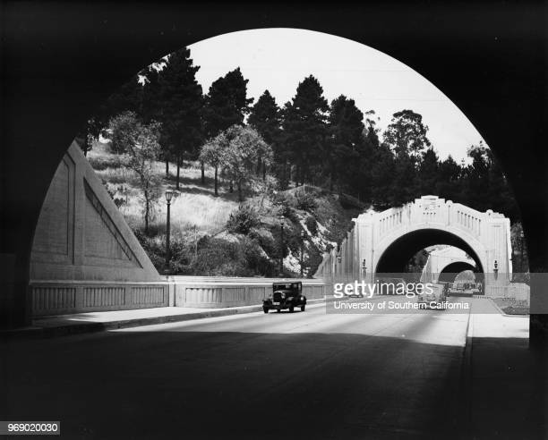 Tunnels / underpasses on Figueroa Street just east of Elysian Park and Chavez Ravine on the future path of the Pasadena Freeway , Los Angeles,...