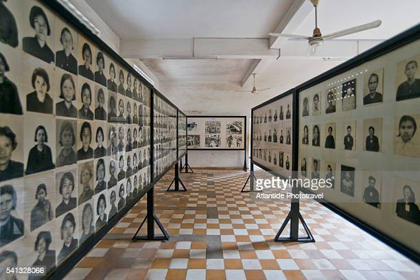 tuol sleng genocide museum, photographs of prisoners - killing fields stock pictures, royalty-free photos & images