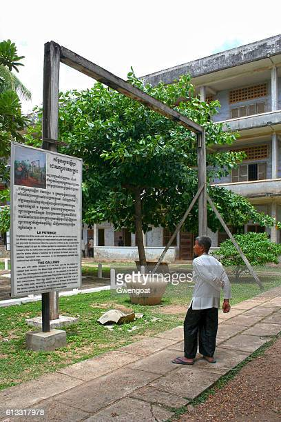tuol sleng genocide museum - hanging gallows stock photos and pictures