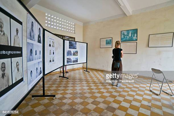 tuol sleng genocide museum, temporary photographic exhibition - killing fields stock pictures, royalty-free photos & images