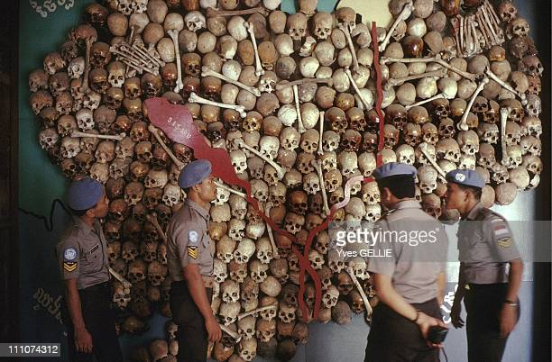 Tuol Sleng school turned into a torture center by the Red Khmer in Phnom Penh Cambodia in 1992 Human skulls map of Cambodia established by the...