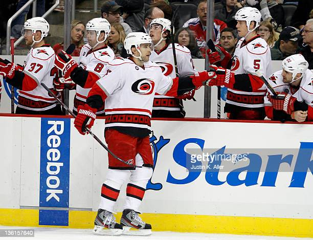Tuomo Ruutu of the Carolina Hurricanes celebrates his third period goal against the Pittsburgh Penguins during the game at Consol Energy Center on...
