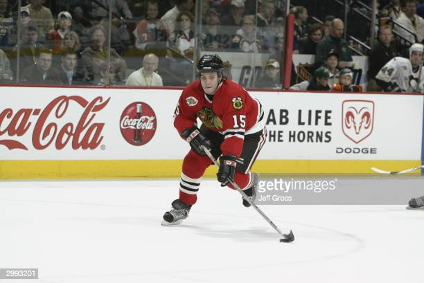 Tuomo Ruutu of the Chicago Blackhawks skates with the puck as the East takes on the West in the NHL YoungStars Game on February 7 2004 at the Xcel...